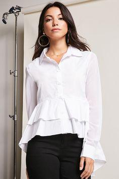Camisa Blanca, Blanco, Camisas, Camisa Alta Baja, Top Alto Bajo, Blusas  Camiseras, Blusas De Manga Larga, Últimas Tendencias, Fasion fb251acf12