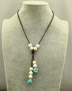 Natural turquoise beads necklacepearl leather by WangDesignJewelry