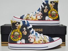 Guns N' Roses Fan Art custom Converse sneakers inspired personalized shoes gift Custom Converse, White Converse, Converse Sneakers, Custom Sneakers, Custom Shoes, Converse All Star, Converse Chuck Taylor, High Top Sneakers, Converse High