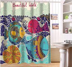 WJY425Y34 Пользовательские Подводный мир красивый мультфильм ископаемые рыбы Ткань Современной Душевой Занавес ванная комната Водонепроницаемый XY34 купить на AliExpress