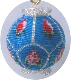 Roses Beaded Ornament Cover Pattern by Brisingamen at Bead-Patterns