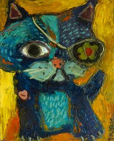 """Cat, cat art, cat painting, Pirate Blue Cat oil painting - Art by Melissa Bee """"With Love"""""""