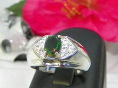 Mens Black Opal Silver Ring! http://www.artfire.com/ext/shop/product_view/MaggieMays/8400871
