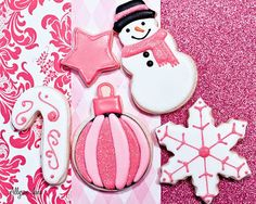Pink decorated christmas cookies