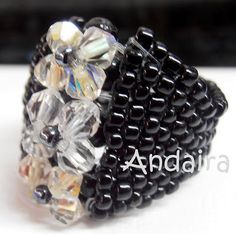 figure out how to make this! Beaded Jewelry Designs, Seed Bead Jewelry, Jewelry Patterns, Jewelry Rings, Jewellery, Diy Crafts Jewelry, Handmade Jewelry, Beaded Rings, Beaded Bracelets