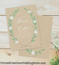 Together Forever Invitation - quaint country charm with its simple greenery and flower design.  See this design and many more country wedding invitations at www.PrintedCreationsWeddingStore.com.