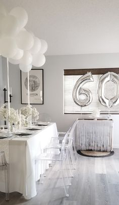 Silver Party Decorations, Birthday Room Decorations, Dinner Party Table, All White Party, 60th Birthday Party, White Balloons, 30th, Graduation, Parties