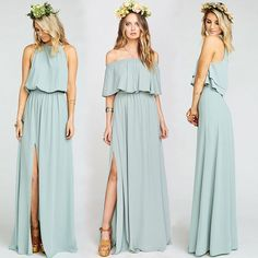 Silver Sage three ways! Bridesmaid dresses for all shapes and styles online now xx #mumuweddings #bridesmaiddresses