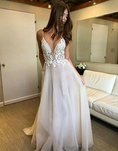 Sale Outstanding Prom Dress Lace Deep V-neck Spaghetti Straps Lace Appliqued Beach Wedding Dress,Sexy Prom Dresses Cheap Bridal Dresses, Chic Wedding Dresses, Cheap Wedding Dresses Online, V Neck Wedding Dress, Lace Wedding, Wedding Gowns, Wedding Dress Straps, Elegant Wedding, Party Dresses