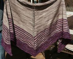 Scalloped Shawl by Breean Elyse Miller. malabrigo Arroyo in Sand Bank and Purpuras colorway.
