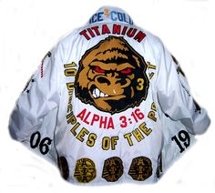 Alpha Phi Alpha Fraternity, Inc. Crossing Jacket. Sewn Letters and Embroidered patches. All done by hand, piece by piece. We create heirloom pieces. Your jacket for life, guaranteed. White jacket, 10 line brothers.