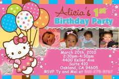 Hello kitty photo birthday invitations pinterest hello kitty cute hello kitty party invitations filmwisefo