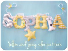 Fabric letters name banner, yellow and gray nursery, baby girl name wall art ,kids room ,baby shower gift, star ornament for FREE Name Wall Decor, Name Wall Art, Color Names Baby, Baby Patterns, Color Patterns, Nursery Banner, Pink And Gray Nursery, Fabric Letters, Hanging Letters