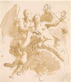 Giovanni Battista Tiepolo | Time Unveiling Truth (?) | Drawings Online | The Morgan Library & Museum