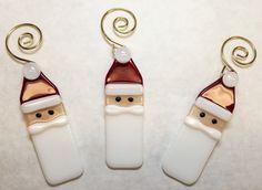 Fused Glass Santa Ornaments, Set of 3 - OUR-WV.com LLC
