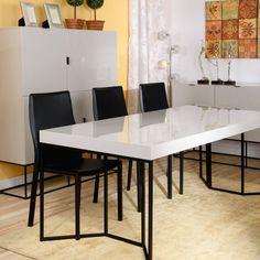 Eleganta masa pentru dining Hector este realizată din MDF și metal. #mobexpert #reduceri #dining Conference Room, Dining, Metal, Table, Furniture, Home Decor, Food, Decoration Home, Room Decor