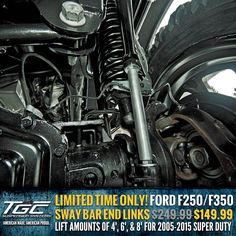 For a limited time only, You can get our HEAVY DUTY Ford Super Duty Sway Bar End Link Kit for only $119.99! https://www.topguncustomz.com/c-49-sway-bar-end-links.aspx?pagenum=&section=-254-319-29-2546-220-2182-&SearchTerm=&sortBy=nameascending&pageSize=20