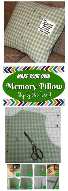 Sewing Gifts For Men Make a Memory Pillow from a Men's Shirt Easy Sewing Projects, Sewing Projects For Beginners, Sewing Hacks, Sewing Tutorials, Sewing Tips, Sewing Ideas, Sewing Men, Sewing Crafts, Diy Projects