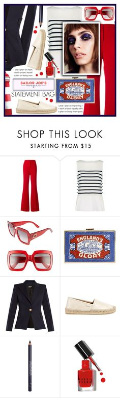 """SAILOR LOOK"" by celine-diaz-1 ❤ liked on Polyvore featuring Rochas, 3.1 Phillip Lim, Gucci, Anya Hindmarch, Jura, Balmain, MAKE UP FOR EVER and Bobbi Brown Cosmetics"