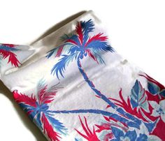 Vintage Retro Tablecloth Flowers and Palm by MerrilyVerilyVintage, $39.00