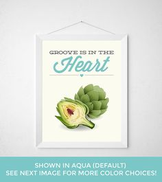 Funny Kitchen Print - Groove is in the Heart - Artichoke hearts green vegetable veggie produce fresh typography poster vegan love produce by noodlehug on Etsy