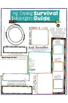 """School Counseling Lesson, Posters, Art & Sorting Activities Coping Skills for Kids! A fun coping strategies """"survival guide"""" worksheet.Coping Skills for Kids! A fun coping strategies """"survival guide"""" worksheet. Kids Coping Skills, Coping Skills Activities, Counseling Activities, Art Therapy Activities, Sorting Activities, Therapy Ideas, Play Therapy, Therapy Tools, Grief Activities"""