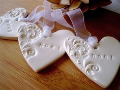 Noel Christmas Hearts (3) - Tags/Decorations - White Embossed Clay - by redpunchbuggy on madeit