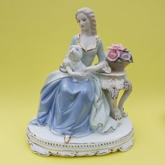 Lady With Dog Ceramic Statue, Art Figurine Female sculpture Home Decoration Sculpture, Ceramics, Statue, Female, Decoration, Lady, Dogs, Pictures, Gifts