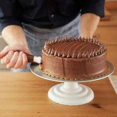 Vanilla Cake with Chocolate Buttercream Frosting Recipe by One Girl Cookies