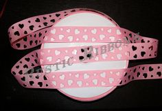 Pink Grosgrain Ribbon with Heart Cut Outs