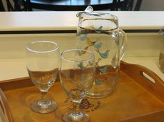 Vintage Pressed Glass Pitcher with Blue and Gold by OspreyBlu, $21.00