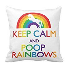 Keep Calm And Poop Rainbows Unicorn Pillow Square Throw Pillow Cover Cushion Case With Hidden Zipper Closure Pillowcase For Living Room Sofa 16 In