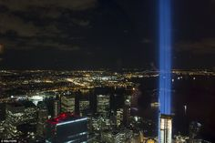 The Tribute in Light installation is seen from One World Observatory, the observation deck at One World Trade Center, in Lower Manhattan in New York September 11, 2015