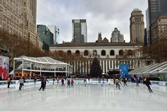 Winter Village at Bryant Park, with the New York Public Library behind