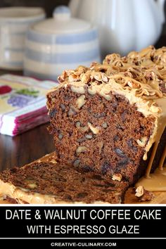Baking Recipes, Cake Recipes, Dessert Recipes, Dessert Bread, Date And Walnut Loaf, Coffee And Walnut Cake, Date Nut Bread, Date Cake, Healthy Cake