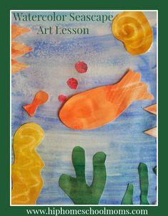 Watercolor Seascape Art Lesson - Hip Homeschool Moms