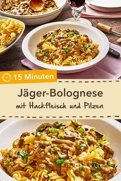 The perfect pasta companion: Jäger Perfekter Nudelbegleiter: Jäger-Bolognese The quick alternative to Bolognese: Hunter's Bolognese with minced meat and mushrooms in just 15 minutes. Good Healthy Recipes, Healthy Snacks, Snack Recipes, Popcorn Recipes, Cake Recipes, Carne Picada, Easy Meals, Cooking, Food