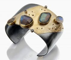 River Rocks cuff: rose cut labradorites, aquamarines, 22k gold and oxidized silver. This was my favorite new cuff!