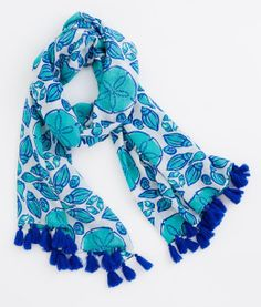 Women's Scarf: Buy Shell Tile Print Tassle Scarves online   Vineyard Vines