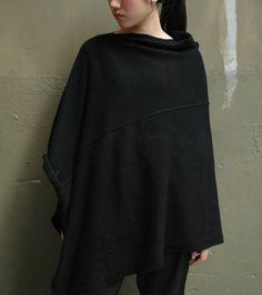 poncho tricoté asymétrique en cashmere