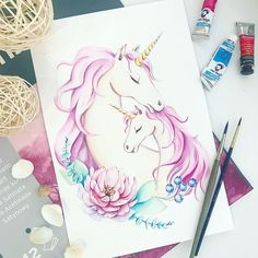 No photo description available. Unicorn Painting, Unicorn Drawing, Unicorn Art, Cute Illustration, Watercolor Illustration, Watercolor Art, Unicornios Wallpaper, Disney Princess Drawings, Unicorn Pictures