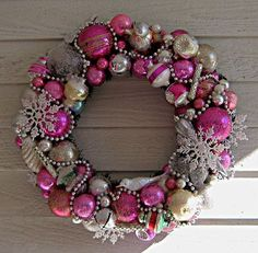 "ornament wreath | Pink Poodle"" Vintage Ornament Wreath 
