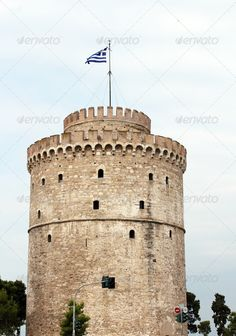 white tower Thessaloniki famous landmark ...  Thessaloniki, ages, ancient, architecture, balkans, building, byzantine, castle, city, culture, defense, europe, european, flag, fort, fortification, greece, greek, hellenic, historic, historical, history, journey, landmark, macedonia, medieval, mediterranean, middle, monument, museum, old, salonica, salonika, sightseeing, stone, stronghold, tourism, touristic, tower, travel, view, vintage, white