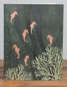 Sea Horses | Red Cap Cards | Illustrated greeting card by Becca Stadtlander