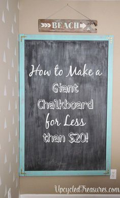 Easiest method I've found for a DIY giant chalkboard. However, she makes chalk paint instead of chalkboard paint. I need to research the differences more thoroughly. Diy Chalkboard Paint, Homemade Chalkboard, Chalkboard Ideas, Chalk Board Diy, Chalkboard In Kitchen, Chalk Paint, Chalkboard Canvas, Hanging Chalkboard, Large Chalkboard