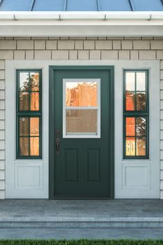 with clear glass vent in green finish by Jeld-Wen Wood Entry Doors, Garage Doors, Front Entry, Exterior Doors, Real Wood, Clear Glass, New Homes, Outdoor Decor, Green