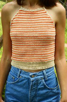 Cropped de crochet listrado laranja | Mariana Mazzaro