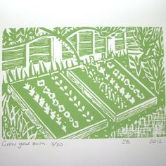 Grow your own lino print by Zebedee on Folksy.