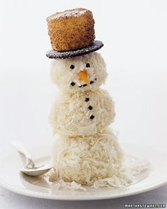 Snowman Ice Cream Man: Rolled in Coconut. Recipe from Martha Stewart! Perfect for winter, Christmas, and holiday parties. brrr.