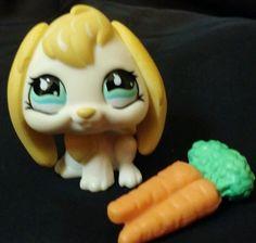 Littlest Pet Shop Sportiest Cream Lop Bunny Rabbit LPS 717 Blue Eyes Carrots  #Hasbro
